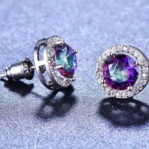 Rainbow zirconia stud earrings